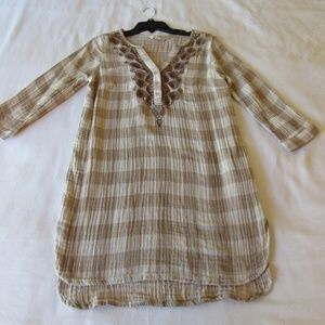 Soft Surroundings Tunic Top XS Brown Cream Beige